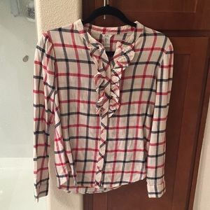 Forever 21- Plaid ruffled button up blouse